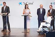 King Felipe VI of Spain, Queen Letizia of Spain attends 'La Caixa' Scholarship awards 2018 at Caixa Forum on May 28, 2019 in Madrid, Spain