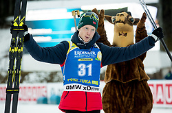 Winner Johannes  Thingnes Boe (NOR)  celebrates at medal ceremony after the Men 10km Sprint at day 6 of IBU Biathlon World Cup 2018/19 Pokljuka, on December 7, 2018 in Rudno polje, Pokljuka, Pokljuka, Slovenia. Photo by Vid Ponikvar / Sportida