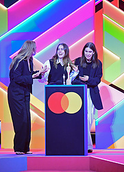 Haim accept the award for International Group during the Brit Awards 2021 at the O2 Arena, London. Picture date: Tuesday May 11, 2021.