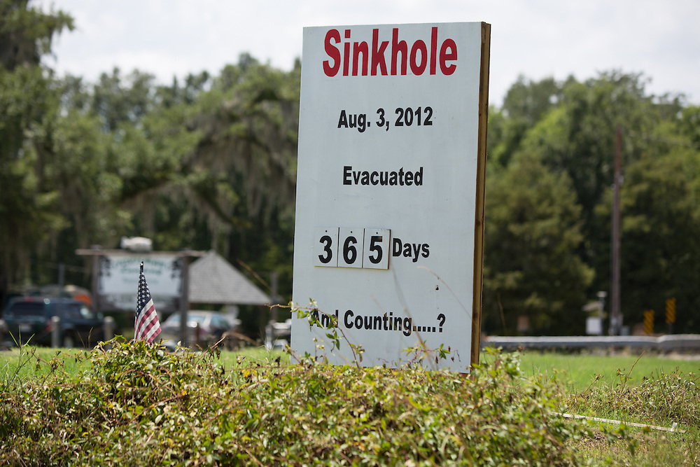 Sign marking the nubmer of days people in Bayou Corne have been under an evacuation order after the sinkhole openned up.