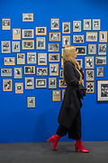 A wall of photos in the Atlas Gallery -  Photo London, an international photography event in its third edition, Along with the selection of the world's leading galleries showing at the Fair, Photo London presents the Discovery section for the most exciting emerging galleries and artists. There is also a Public Programme bringing together special exhibitions and talks. The event runs until 21 May. London 17 May 2017.