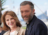 Actress Nathalie Baye and actor Vincent Cassel at the It's Only the End of the World (Juste La Fin Du Monde) film photo call at the 69th Cannes Film Festival Thursday 19th May 2016, Cannes, France. Photography: Doreen Kennedy