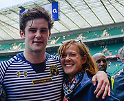 Cheshire's Jack Lavin (Caldy) with his mother after the The Bill Beaumont County Championship match Cornwall -V- Cheshire  at Twickenham Stadium, London, Greater London, England on Sunday, May 29, 2016. (Steve Flynn/Image of Sport)