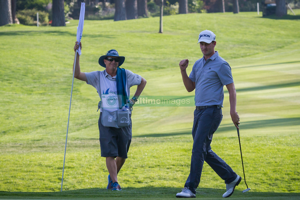 August 5, 2018 - Reno, Nevada, U.S - Sunday, August 5, 2018.ANDREW PUTNAM reacts to a stellar shot on the 18th green during the 2018 Barracuda Championship at the Montreux Golf & Country Club. ..The Barracuda Championship Golf Tournament is one of only 47 stops on the PGA Tour worldwide, and has donated nearly $4 million to charity since 1999. Opened in 1997, the par-72 course was designed by Jack Nicklaus, plays at 7,472 yards (6,832 m) and its average elevation is 5,600 feet (1,710 m) above sea level...The Montrux Golf and Country Club is located midway between Reno and Lake Tahoe...As the tournament champion, Putnam, received a check in the amount of $612,000. (Credit Image: © Tracy Barbutes via ZUMA Wire)