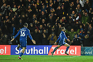 Wimbledon midfielder Scott Wagstaff (7) celebrates scoring a goal (2-0) during the The FA Cup fourth round match between AFC Wimbledon and West Ham United at the Cherry Red Records Stadium, Kingston, England on 26 January 2019.