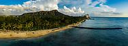 Panoramic aerial view of Waikiki Beach, Honolulu, Oahu, awaii