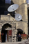 Baku, Azerbaijan, April 1999.&#xD;Carpet sellers and television satellite dishes in the centre of Baku old town.&#xD;&#xD;&#xD;&#xD;&#xD;&#xD;&#xD;&#xD;&#xD;&#xD;&#xD;&#xD;<br />
