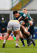 Leicester Tigers Nephi Leatigaga charges at the Wasps defence during a Gallagher Premiership Round 10 Rugby Union match, Friday, Feb. 20, 2021, in Leicester, United Kingdom. (Steve Flynn/Image of Sport)