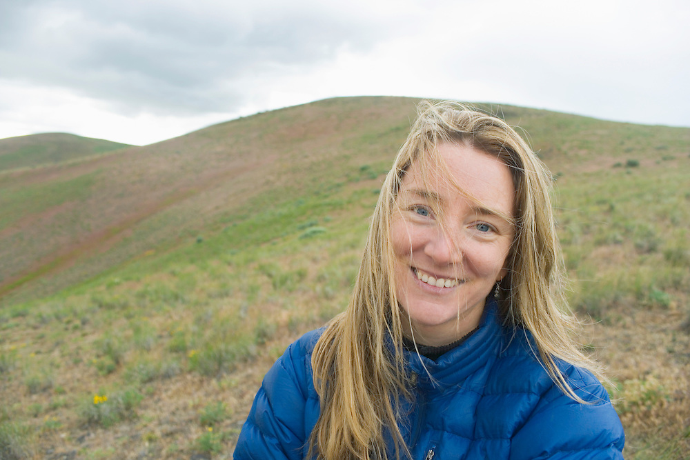 Portrait of a Amy Leska while on a Springtime backpacking trip on Umptanum Ridge in Eastern Washington, USA.