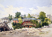 La rue Marbeuf sous l'avenue de l'Alma'. Watercolour. Charles Claude Pyne (1802-1878) English landscape and genre painter.   Paris, France Tree House Balcony Footbridge Wood