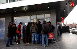 PRISTINA, KOSOVO - DECEMBER 14 - IPKO trgovina pred odprtjem.