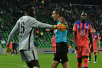 KRASNODAR, RUSSIA - OCTOBER 28: Édouard Mendy of Chelsea argues with match referee Ali Palabiyik during the UEFA Champions League Group E stage match between FC Krasnodar and Chelsea FC at Krasnodar Stadium on October 28, 2020 in Krasnodar, Russia. (Photo by MB Media)