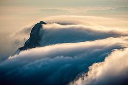 Rjavina moutain peak with drifting clouds, on September 11, 2020 in Julian Alps, Slovenia. Photo by Matic Klansek Velej / Sportida