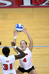 16 SEP 2008: Erin Lindsey sets the ball for a Redbird attack as Hailey Kelley readies during a match at Redbird Arena on the campus of Illinois State University in Normal Illinois.  The Illinois State Redbirds went toe to toe with the University of Illinois Illini but in the end were outpaced by the 23rd ranked Division 1 Illini team 3 sets to 1.