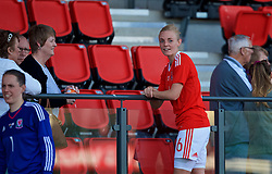 YSTRAD MYNACH, WALES - Wednesday, April 5, 2017: Wales' Sophie Ingle catches up with fans after the 3-1 win in the Women's International Friendly match against Northern Ireland at Ystrad Mynach. (Pic by Laura Malkin/Propaganda)