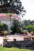 Rural life around the village of Spalding, Clarendon, Jamaica, West Indies in 1990 , patio hotel Villa Bella, Christiana