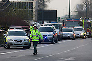 Loondon 16/1/13: Aftermath of a helicopter crash into the crane constructing the residential skyscraper St George Tower at Vauxhall in south London. At approximately 08.00 the aircraft apparently crashed into the crane in freezing fog, landing in the road next to a mainline railway line. The tower is 181 metres (594 ft) tall with 49 storeys, now the tallest residential building in the United Kingdom. Its crane that operated on the side of the tower was torn away, landing below.