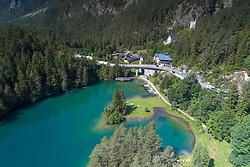 Luftaufnahme von Fernsteinsee, Fernpass, Nassereith, Tirol, Oesterreich / Aerial View from Fernsteinsee, Fernpass, Nassereith, Tyrol, Austria