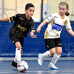 BRISBANE, AUSTRALIA - NOVEMBER 14:  during the QLD Futsal Junior Superliga match between Elitefoot u10 White and Elitefoot u10 Black at Anna Meares Veladrome on November 14, 2020 in Brisbane, Australia. (Photo by Patrick Kearney)