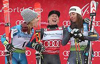 Alpint<br /> FIS World Cup<br /> Foto: Gepa/Digitalsport<br /> NORWAY ONLY<br /> <br /> KILLINGTON,VERMONT,USA,26.NOV.16 - ALPINE SKIING - FIS World Cup Killington, giant slalom, ladies, award ceremony. Image shows Nina Løseth (NOR), Tessa Worley (FRA) and Sofia Goggia (ITA).