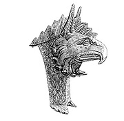 Griffon's head, ornament belonging to helmet of bronze. from the book '  The viking age: the early history, manners, and customs of the ancestors of the English speaking nations ' by Du Chaillu, (Paul Belloni), 1835-1903 Publication date 1889 by C. Scribner's sons in New York,