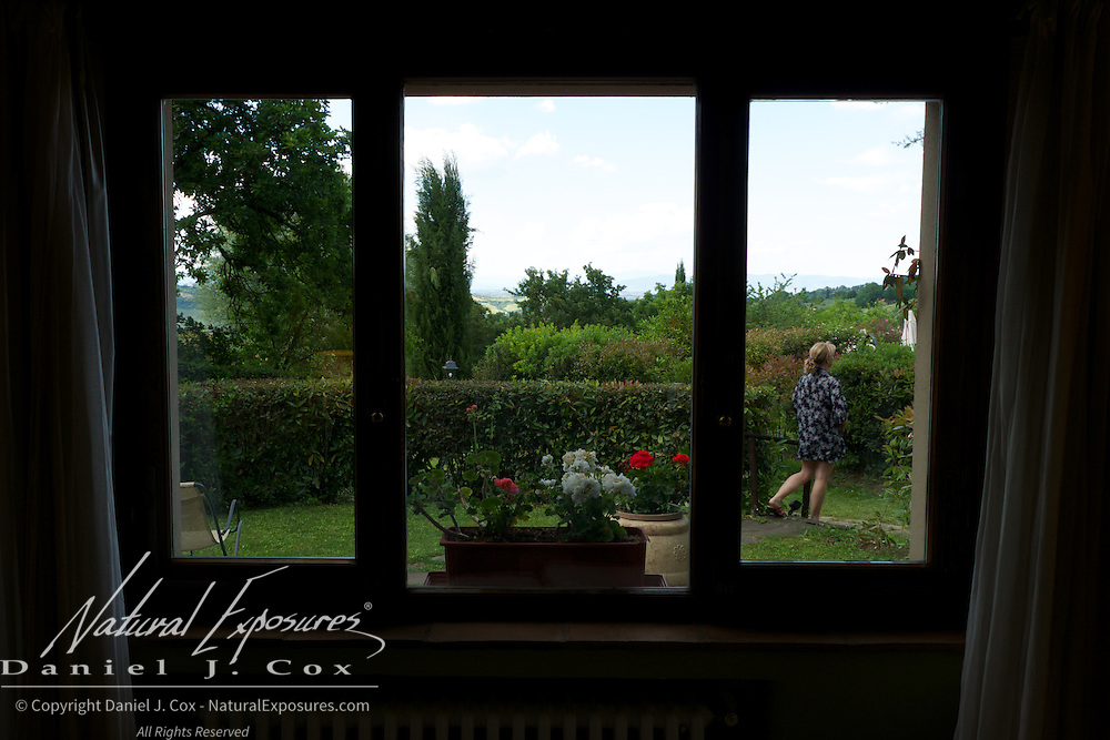 The view from our window of our villa on the Relais San Bruno estate, Tuscany, Italy