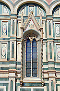 Gothic windows and architectural detail  of  the  of the Gothic-Renaissance Duomo of Florence,  Basilica of Saint Mary of the Flower; Firenza ( Basilica di Santa Maria del Fiore ).  Built between 1293 & 1436. Italy .<br /> <br /> Visit our ITALY PHOTO COLLECTION for more   photos of Italy to download or buy as prints https://funkystock.photoshelter.com/gallery-collection/2b-Pictures-Images-of-Italy-Photos-of-Italian-Historic-Landmark-Sites/C0000qxA2zGFjd_k<br /> .<br /> <br /> Visit our MEDIEVAL PHOTO COLLECTIONS for more   photos  to download or buy as prints https://funkystock.photoshelter.com/gallery-collection/Medieval-Middle-Ages-Historic-Places-Arcaeological-Sites-Pictures-Images-of/C0000B5ZA54_WD0s