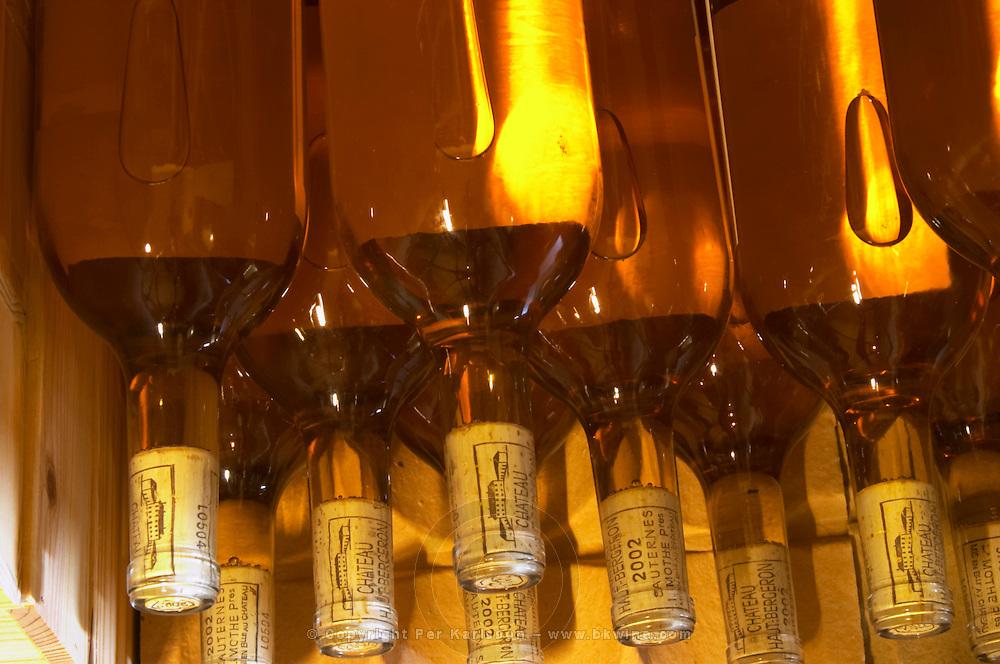 Bottles of the 2002 vintage that do not yet have labels and collars - Chateau Haut Bergeron, Sauternes, Bordeaux