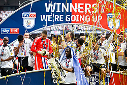 Free to use courtesy of Sky Bet. Kevin McDonald drinks champagne as Fulham celebrate winning the game 0-1 to win the Sky Bet Championship Play-Off Final and secure Promotion to the Premier League - Rogan/JMP - 26/05/2018 - FOOTBALL - Wembley Stadium - London, England - Aston Villa v Fulham - Sky Bet Championship Play-Off Final.