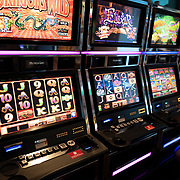 Slot machines sit empty in a casino in Las Vegas, Nevada on Saturday, October 17, 2020. (Alex Menendez via AP)
