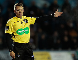 Referee Craig Evans awards a scrum<br /> <br /> Photographer Simon King/Replay Images<br /> <br /> Guinness Pro14 Round 9 - Cardiff Blues v Connacht Rugby - Friday 24th November 2017 - Cardiff Arms Park - Cardiff<br /> <br /> World Copyright © 2017 Replay Images. All rights reserved. info@replayimages.co.uk - www.replayimages.co.uk