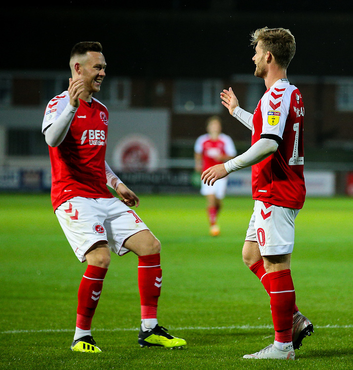 Fleetwood Town's Gethin Jones congratulates Conor McAleny after he scored his side's second goal<br /> <br /> Photographer Alex Dodd/CameraSport<br /> <br /> The EFL Checkatrade Trophy - Northern Group B - Fleetwood Town v Leicester City U21 - Tuesday September 11th 2018 - Highbury Stadium - Fleetwood<br />  <br /> World Copyright © 2018 CameraSport. All rights reserved. 43 Linden Ave. Countesthorpe. Leicester. England. LE8 5PG - Tel: +44 (0) 116 277 4147 - admin@camerasport.com - www.camerasport.com