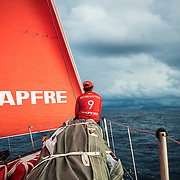 Leg 4, Melbourne to Hong Kong, day 11 on board MAPFRE, Tamara Echegoyen looking at the next squall. Photo by Ugo Fonolla/Volvo Ocean Race. 11 January, 2018.