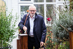 London, UK. 23 October, 2019. Leader of the Opposition Jeremy Corbyn leaves his home on the morning after Parliament rejected Prime Minister Boris Johnson's fast-track timetable for ratifying his Brexit bill. Johnson stated that the bill would be withdrawn should the EU agree a delay in the approval process until January 2020 and that he would instead push for a general election. The Labour Party must now decide whether to agree any request for an election, for which a two-thirds majority is required in the House of Commons.