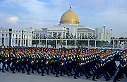 Ashgabat, Turkmenistan, October 1997..The Turkmen military parade in front of President Saparmurat Niyazov's $100M Presidential Palace. Poverty-stricken, but rich in oil and gas resources, this Central Asian former Soviet republic is ruled by the autocratic President Saparmurat Niyazov, or Turkmenbashi as he has renamed himself...............Hollandse Hoogte