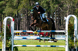 March 22, 2019 - Raeford, North Carolina, US - March 22, 2019 - Raeford, N.C., USA - CLAYTON FREDERICKS of Australia riding LUKSOR competes in the show jumping CCI-4S division at the sixth annual Cloud 11-Gavilan North LLC Carolina International CCI and Horse Trial, at Carolina Horse Park. The Carolina International CCI and Horse Trial is one of North AmericaÃ•s premier eventing competitions for national and international eventing combinations, hosting International competition at the CCI2*-S through CCI4*-S levels and National levels of Training through Advanced. (Credit Image: © Timothy L. Hale/ZUMA Wire)