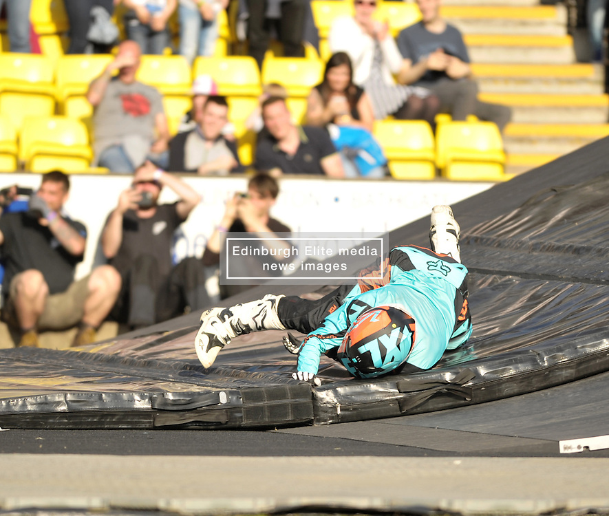 Nitro Circus Live, Livingston, Saturday 4th June 2016<br /> <br /> The trick with two guests doing a jump with the rider went wrong when the person on the back fell off as they landed. He strained his ankle and had to be helped off to the medical room.<br /> <br /> (c) Alex Todd | Edinburgh Elite media