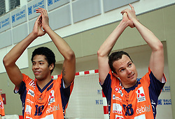 Delano Thomas and Rok Satler of ACH Volley celebrating after  4th and final match of Slovenian Voleyball  Championship  between OK Salonit Anhovo (Kanal) and ACH Volley (from Bled), on April 23, 2008, in Kanal, Slovenia. The match was won by ACH Volley (3:1) and it became Slovenian Championship Winner. (Photo by Vid Ponikvar / Sportal Images)/ Sportida)