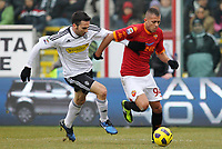 Fotball<br /> Italia<br /> Foto: Insidefoto/Digitalsport<br /> NORWAY ONLY<br /> <br /> Hernan Della Fiore (Cesena) Jeremy Menez (Roma)<br /> <br /> 16.01.2011<br /> Cesena vs Roma