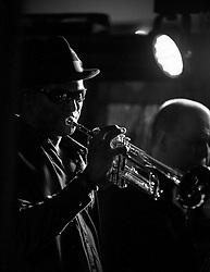 The G-MEN Soul Band at Meadow Farm.Trumpet - Mick Johnson.16 February 2013.Image © Paul David Drabble