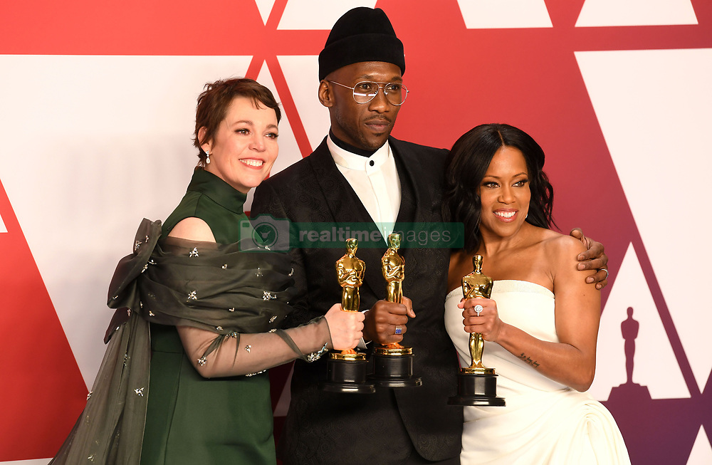 """Olivia Colman, winner of the Best Actress In A Leading Role Award for """"The Favourite""""; Mahershala Ali, winner of the Best Actor In A Supporting Role Award for """"Green Book"""" and Regina King, winner of the Best Actress In A Supporting Role Award for """"If Beale Street Could Talk"""" at the 91st Annual Academy Awards (Oscars) presented by the Academy of Motion Picture Arts and Sciences.<br /> (Hollywood, CA, USA)"""