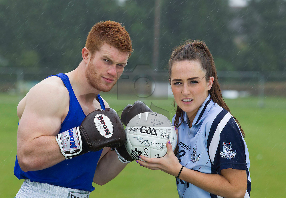 Repro Free: 31/07/2013 Boxer, Steve Collins jnr and Dublin Senior football player Ciara Ruddy fight it out as part of the Irish Cancer Society's new Big Championship campaign. The Society is appeal to sports teams and clubs around the country to get active and raise some much needed funds for both themselves and the Society by joining the Big Championship. For more information or to register your club CallSave our team on 1850 60 60 60 or visit www.thebigchampionship.com Be a club against cancer! Picture Andres Poveda