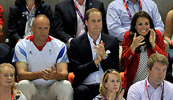 03-08-2012 ENG: Sir Steve Redgrave, London<br /> Sir Steve Redgrave , Prince William and Kate Middleton at Olympics 2012. Aquatics Centre<br /> <br /> *****NETHERLANDS ONLY*****