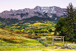 sunset at San Juan Mountain Ranch, Ridgeway Colorado.  A nice little home on the range nestled at the bottom of Dallas Mountain bathed in autumn splendor, on Last Dollar Road. Last Dollar Road is a scenic backroad between Ridgeway and Telluride.