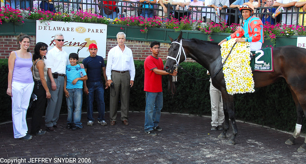 Fleet Indian with jockey Jose Santos, won the 2006 Delaware Handicap