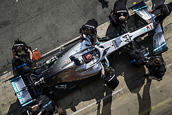 February 21, 2019 - Barcelona Barcelona, Espagne Spain - HAMILTON Lewis (gbr), Mercedes AMG F1 GP W10 Hybrid EQ Power+, action pitstop during Formula 1 winter tests from February 18 to 21, 2019 at Barcelona, Spain - Photo  Motorsports: FIA Formula One World Championship 2019, Test in Barcelona, (Credit Image: © Hoch Zwei via ZUMA Wire)