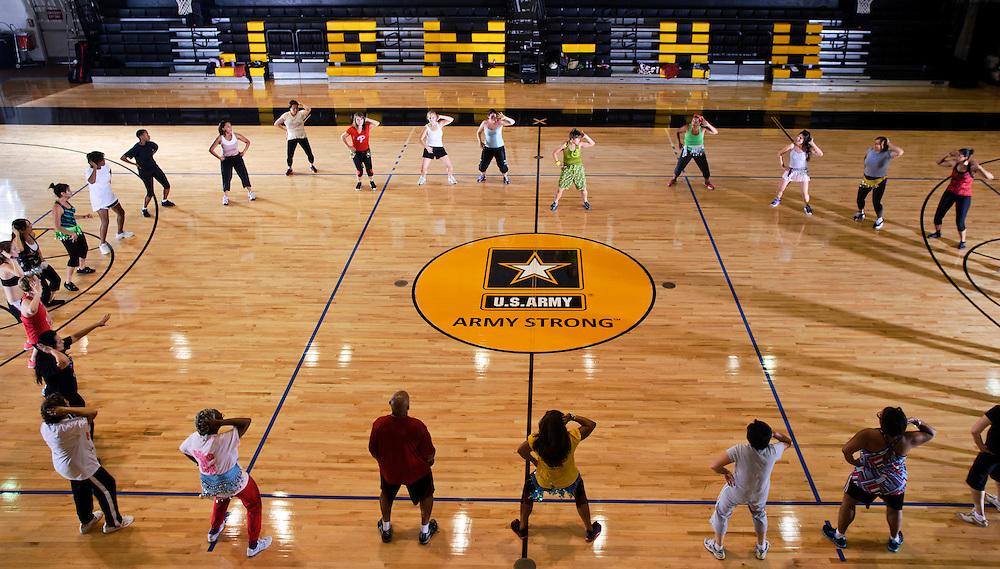 (photo by Matt Roth).Monday, June 18, 2012..Retired Marine & Zumba Instructor Liz Medina teaches class at the Fort Myer Fitness Center in Arlington, Virginia Monday, June 18, 2012..
