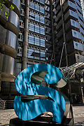 The Lloyds Building and a number two, part of an art installation entitled 'One Through Zero (The Ten Numbers)' by American pop artist Robert Indiana (b 1928), in Lime Street, City of London, the capital's Square Mile, and its financial heart. Situated in the capital's Square Mile, its financial heart, are surrounding offices and corporate headquarters from the finance and insurance sector, most notably being the nearby Lloyds of London building. This series of sculptures is composed of 10 brightly painted numerical digits, each made of aluminum and set on its own base. Their construction took place at the former Lippincott Foundry in North Haven, Connecticut from 1980 to 1983