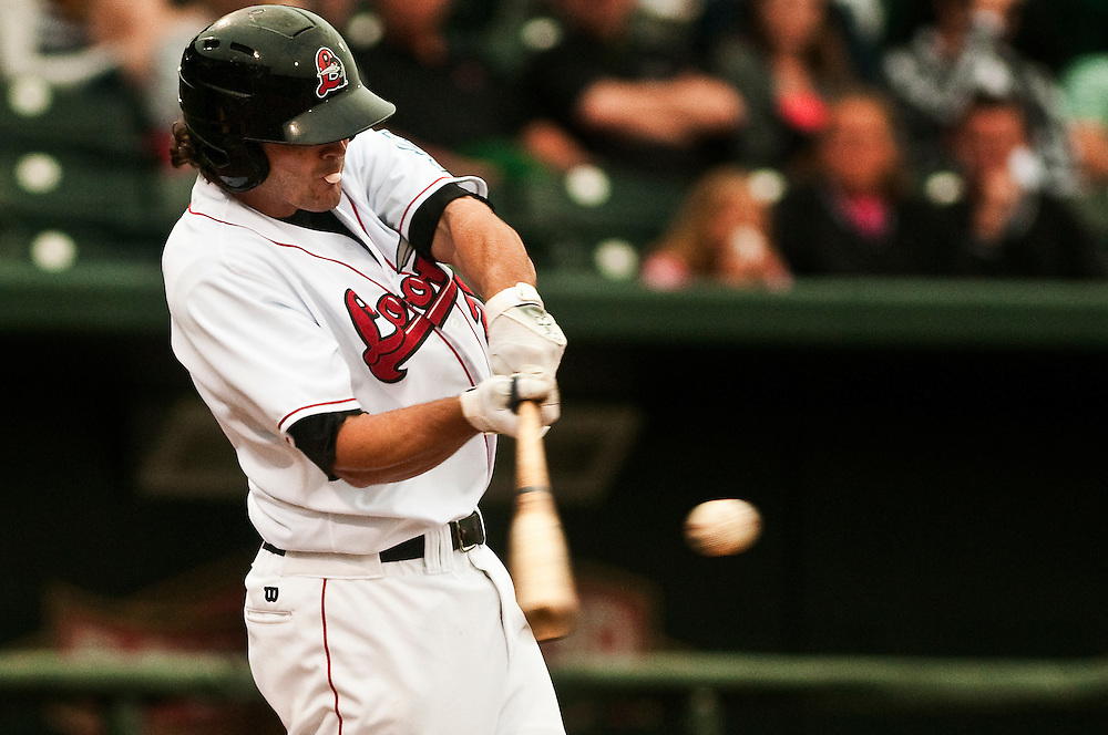 Matt Dixon   The Saginaw News..Great Lakes Loon Preston Mattingly hits the ball during Monday's game against the Bowling Green Hot Rods at the Dow Diamond in Midland.