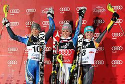 04.01.2013, Crveni Spust, Zagreb, AUT, FIS Ski Alpin Weltcup, Slalom, Damen, Podium, im Bild v.l.n.r. Frida Hansdotter (SWE, Platz 2), Mikaela Shiffrin (USA, Platz 1) und Erin Mielzynski (CAN, Platz 3) jubeln // f.l.t.r. 2nd place Frida Hansdotter of Sweden, 1st place Mikaela Shiffrin of the USA and 3th place Erin Mielzynski of Canada celebrate on podium of the ladies Slalom of the FIS ski alpine world cup at Crveni Spust course in Zagreb, Croatia on 2013/01/04. EXPA Pictures © 2013, PhotoCredit: EXPA/ Pixsell/ Marko Prpic..***** ATTENTION - for AUT, SLO, SUI, ITA, FRA only *****